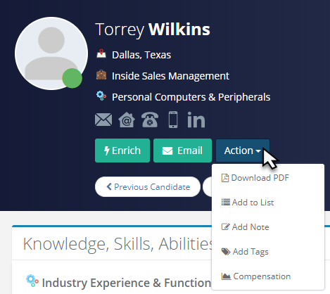 Candidate Profile - Action