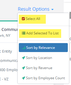 company Select All - Add to List
